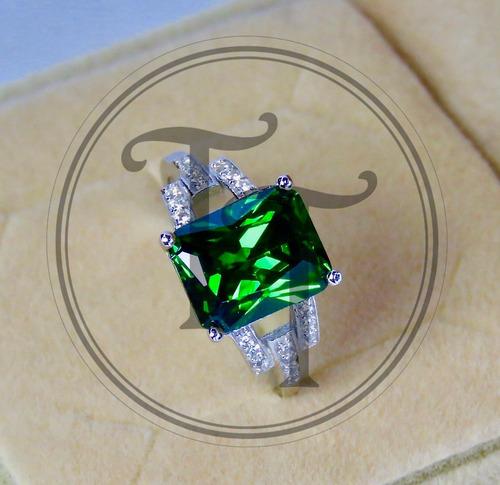 anillo esmeralda 10.75 ct en plata esterlina 925 medium