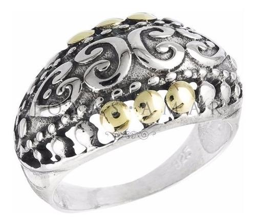 anillo estilo hindu calado plata y oro