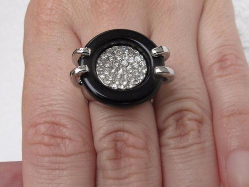 anillo fantasy gold con cubics, nuevo en estuche