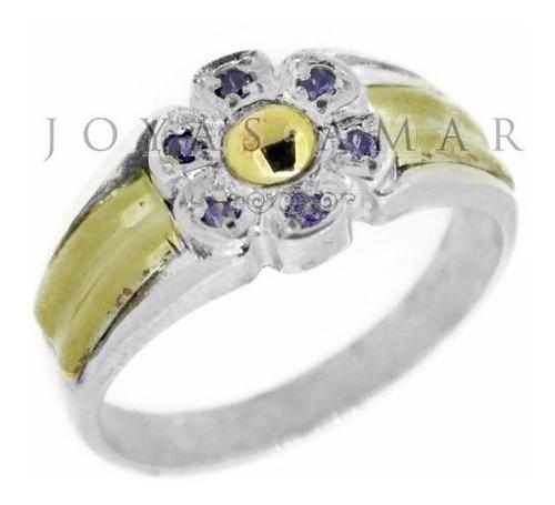 anillo flor plata y oro petalos piedras