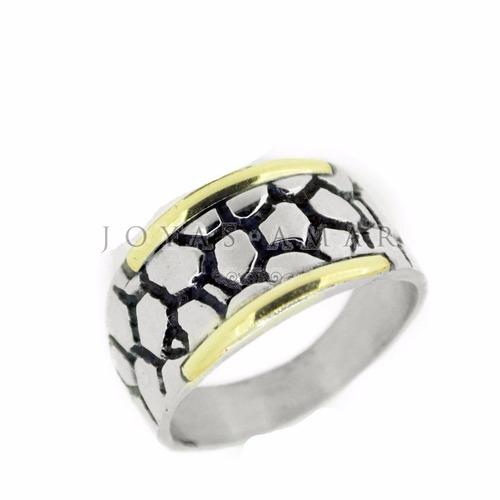 anillo frente rectangular plata y oro empedrado