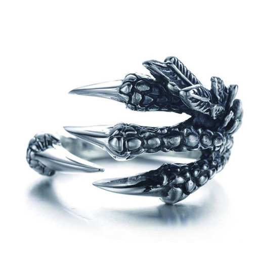 anillo garra de dragon gotico metalico en acero inoxidable