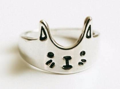 anillo gatito baño plata 925 y cromado hermosos unico talle