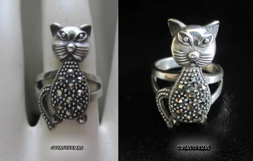 anillo  gato  de plata  con marquesitas (marcasitas)