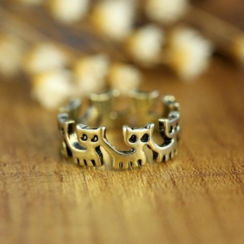 anillo gato talla 7 anular bronce acero tienda virtual fvs
