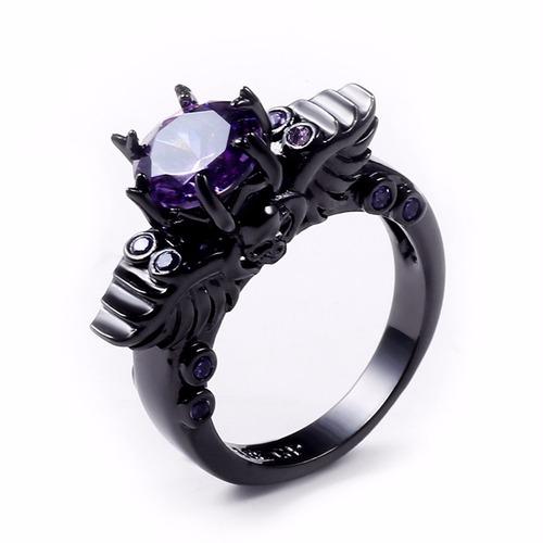anillo gotico calavera compromiso oro negro rubi cristal