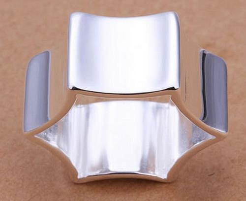 anillo hexagonal con baño en plata # 8