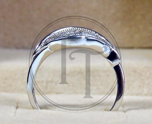 anillo hoja en plata esterlina 925 con swarovski cz