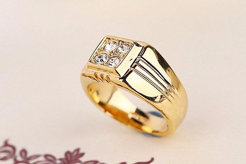 84e41f1c7fac anillo hombre baño oro 18k cristal genuino auto joyas auto. Cargando zoom.