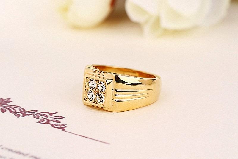 34cad79fa0c1 anillo hombre baño oro 18k cristal genuino auto joyas reloj. Cargando zoom.