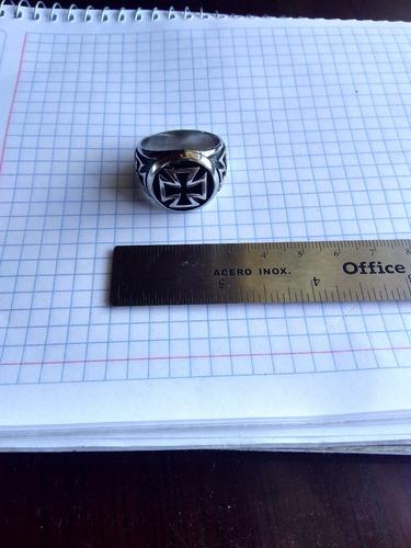 anillo hombre cruz templarios marca gomaya acero