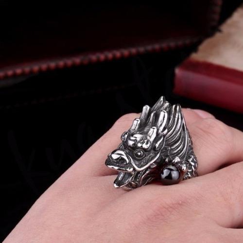 anillo hombre dragon esfinge acero inoxidable 316l