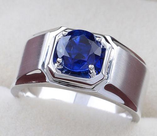 anillo hombre  plata 925,  zafiro talla 10