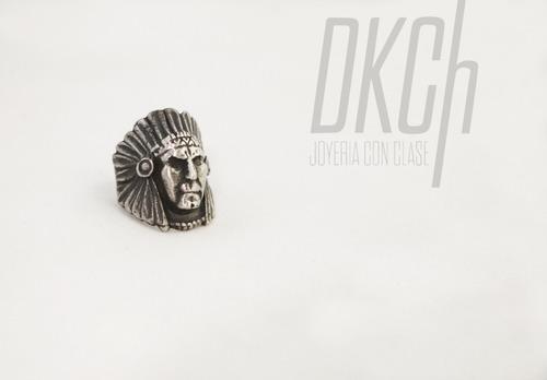 anillo indio apache penacho plata .925 oxido joyería dkch