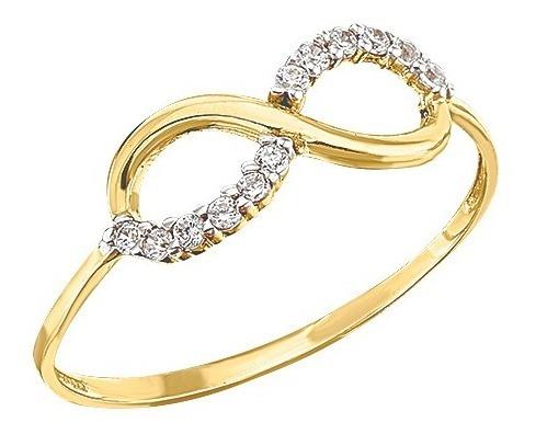 anillo infinito delgado oro 10k - 343