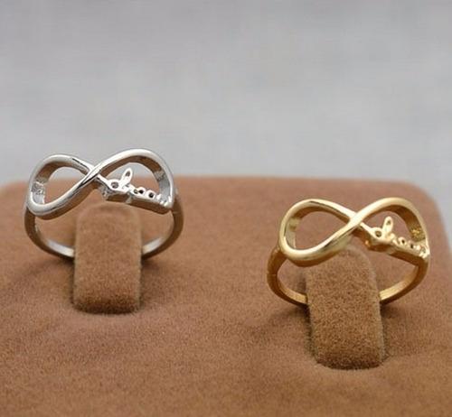 anillo infinito love dorado bisuteria mayoreo