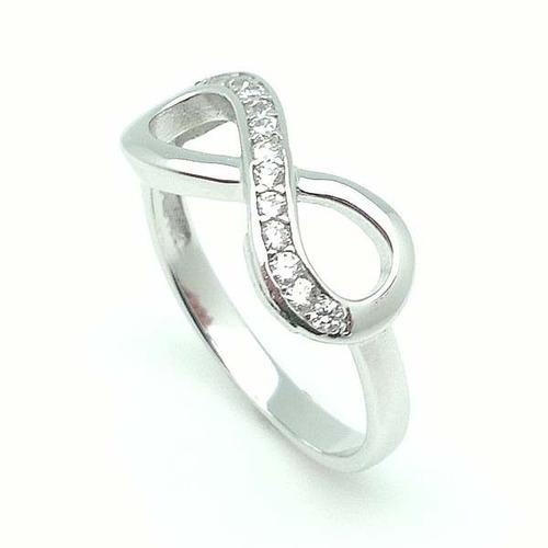 anillo infinito oro 18 con plata ley zirconias envio gratis
