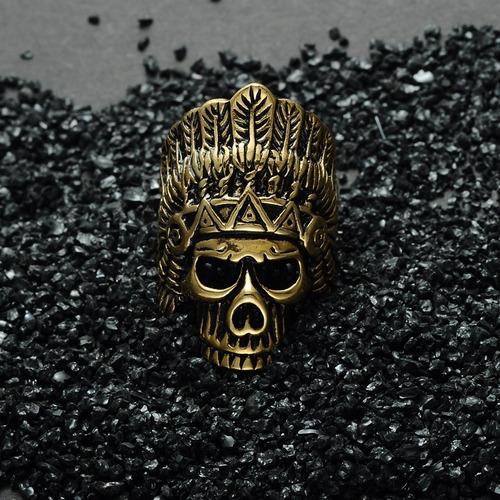 anillo jefe indio skull cráneo acero inoxidable para hombre