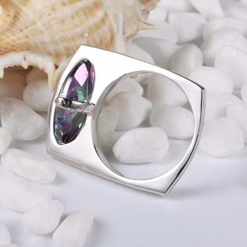anillo joya horizontal topacio mistico rainbow l