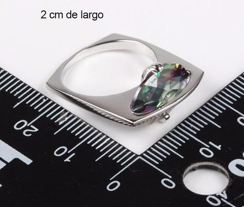 anillo joyas plata 925 de diseno topacio mistico