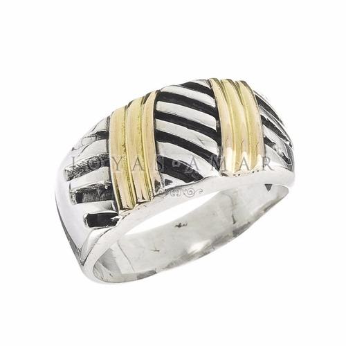 anillo labrado ancho plata y oro
