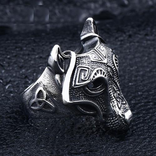 anillo lobo nórdico thor vikingo acero inoxidable 316 hombre
