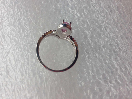 anillo  lujo corona nupcial plateado con circonia rosa