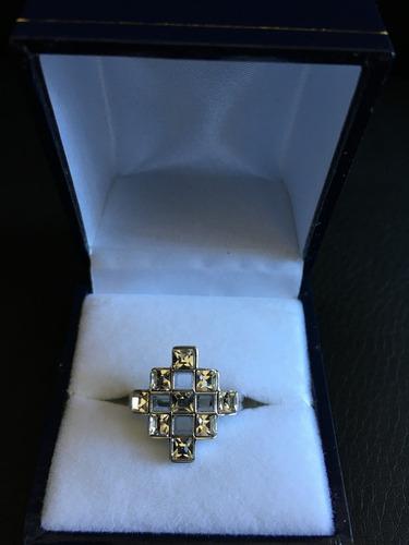 anillo malla 9 cristales blancos intercalados rombo