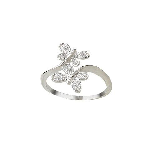 anillo mariposas de plata 925 y cubic mod 10255