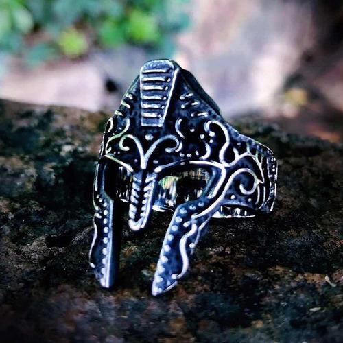 anillo mascara guerrero gladiador acero inoxidable hombre