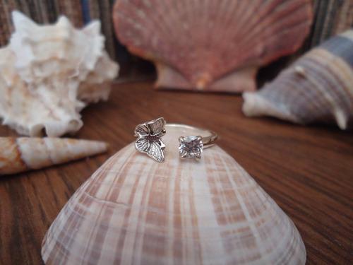 anillo medio dedo / nudillos mariposa en plata pura ley.925