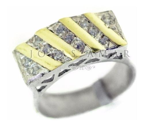 anillo medio sin fin ancho cubic diagonal plata y oro