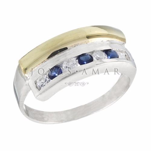 anillo medio sin fin plata y oro cruzado recto cubic