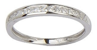 anillo medio sinfín carré con piedra blanca 10312