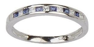 anillo medio sinfín carré con piedra blanca y azul 10313