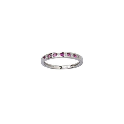 anillo medio sinfín carré con piedra fucsia y blanca 10314