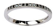 anillo medio sinfin de plata 925 con cúbic negro 10317