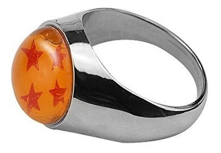 anillo metalico con esfera del dragon de 4 estrellas goku