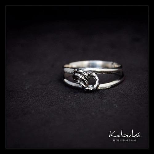 anillo modelo nudo, plata 925