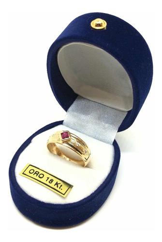 anillo moderno oro 18k rubí (a467)