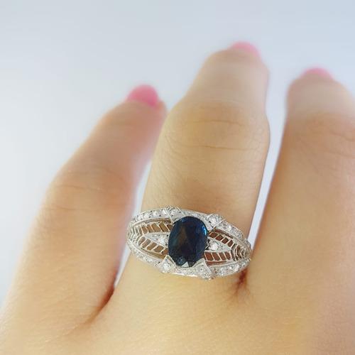 anillo mujer antique platino zafiro diamantes brillante