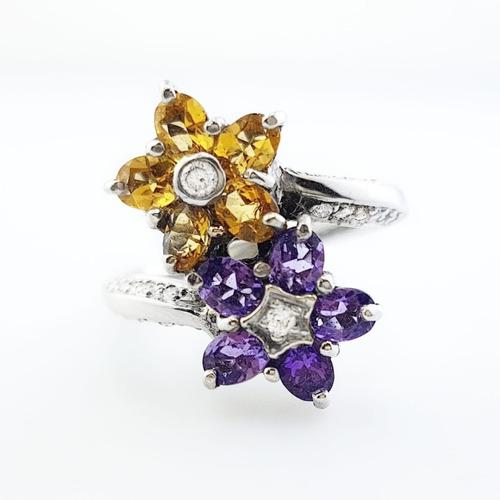 anillo mujer flor oro blanco 18k diamantes citrino amatistas