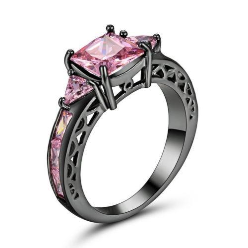 anillo negro/rosa acero compromiso perla circon regalo