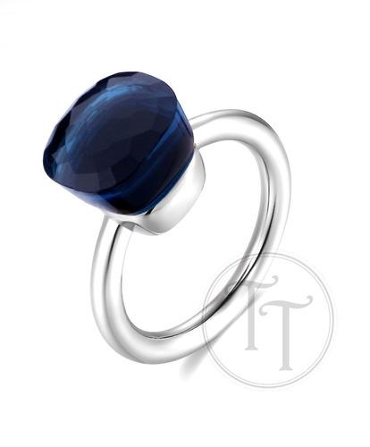 anillo nudo zafiro natural plata esterlina 925 # 6-7-8-9