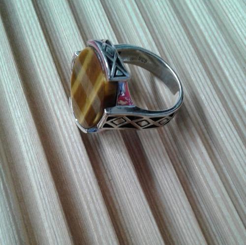anillo ojo de tigre para hombre o mujer # 10.25 (63) plata