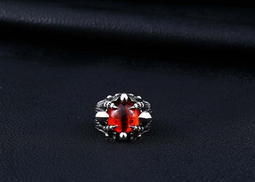anillo ojo dragón rojo cráneo skull acero inoxidable hombre