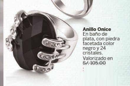 anillo onice esika finart cristales negro baño plata talla 8