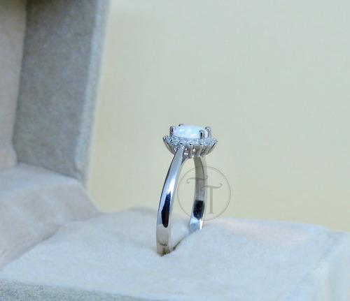 anillo opalo 1.90 ct plata esterlina 925 # 7-8 solitario