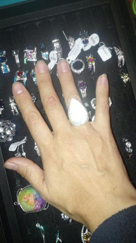 anillo ópalo plata