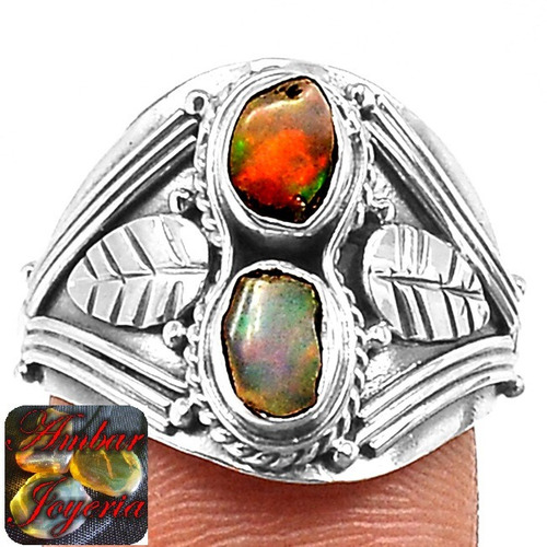 anillo opalo plata